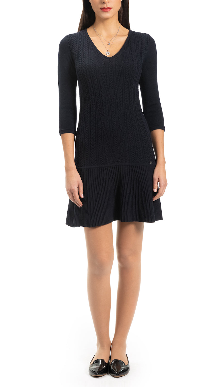 Lory Cable-Knit Dress, Navy