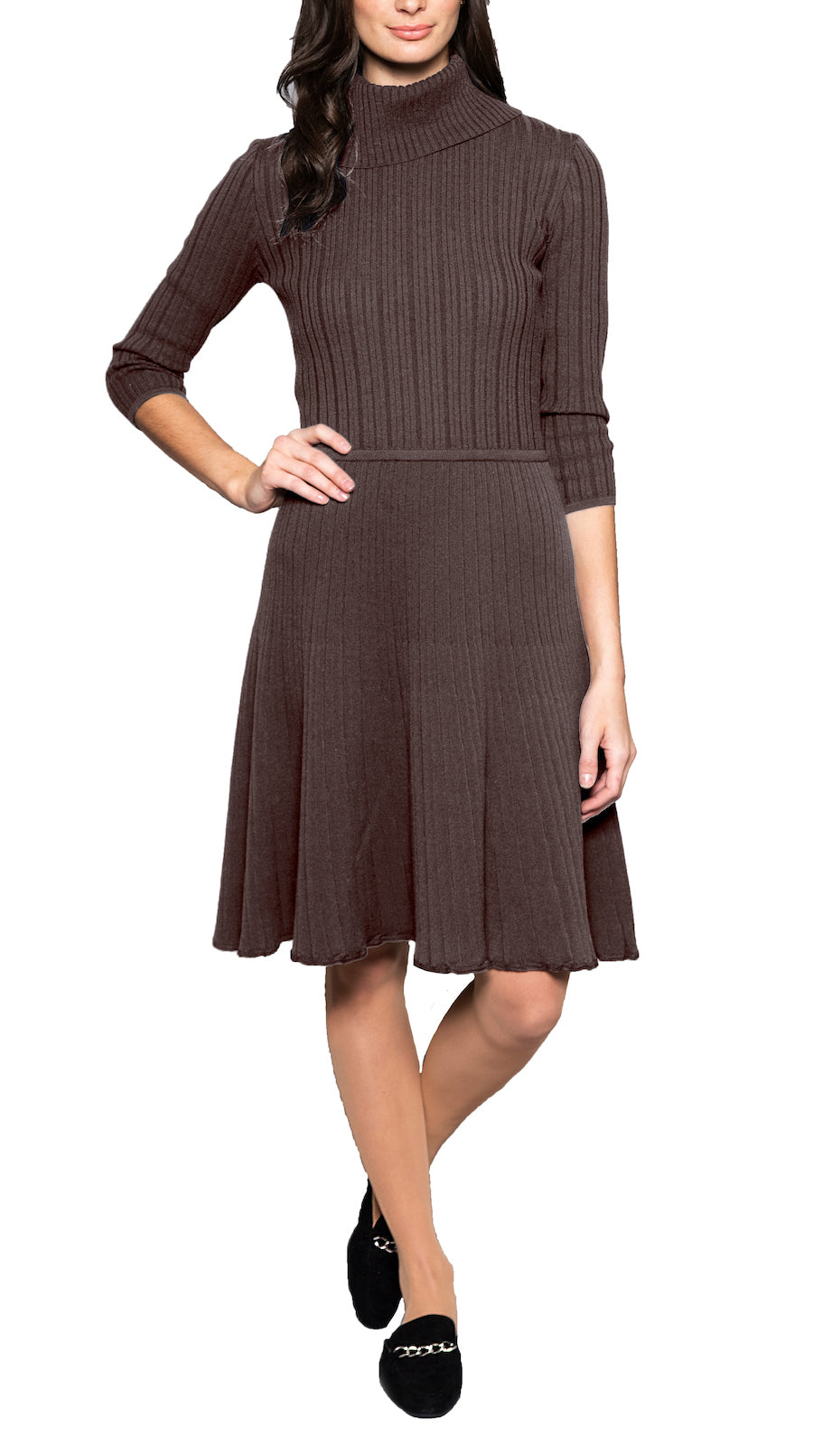 CONTEMPO Carlina knitted dress, Taupe Brown