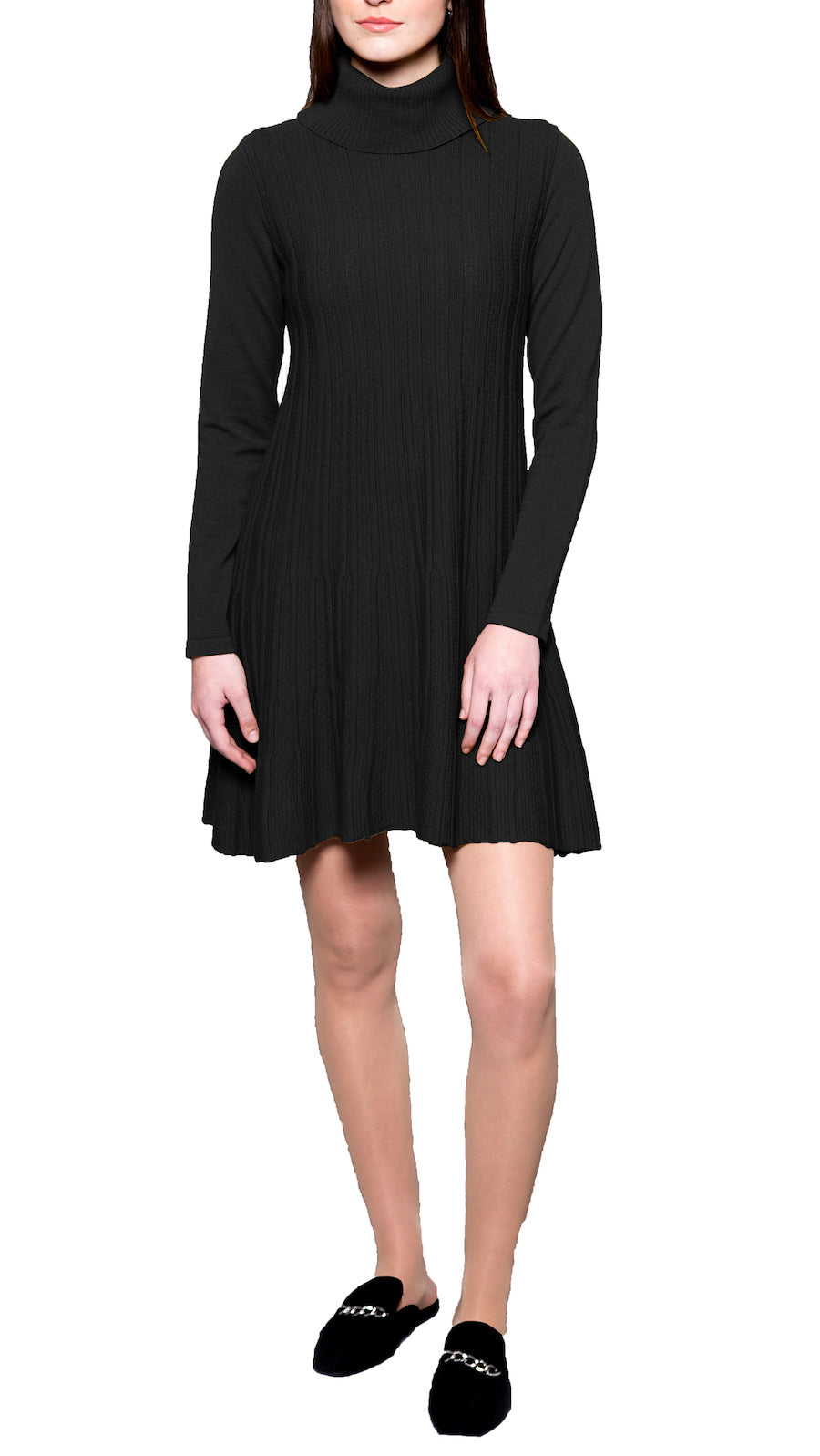 CONTEMPO Charlene knitted turtleneck dress, Black