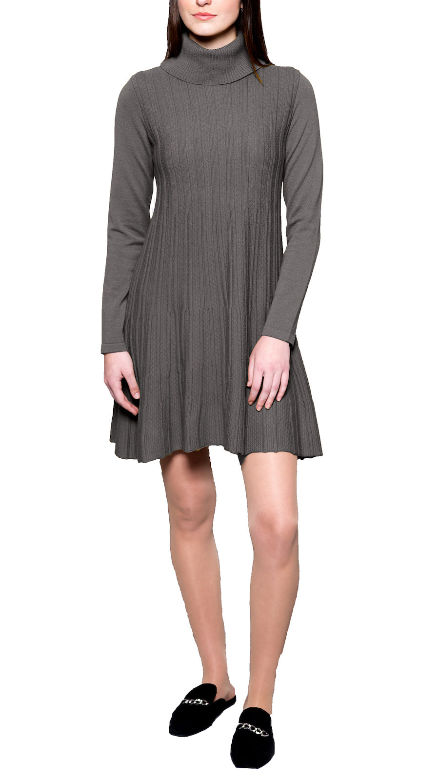 CONTEMPO Charlene knitted turtleneck dress, Taupe