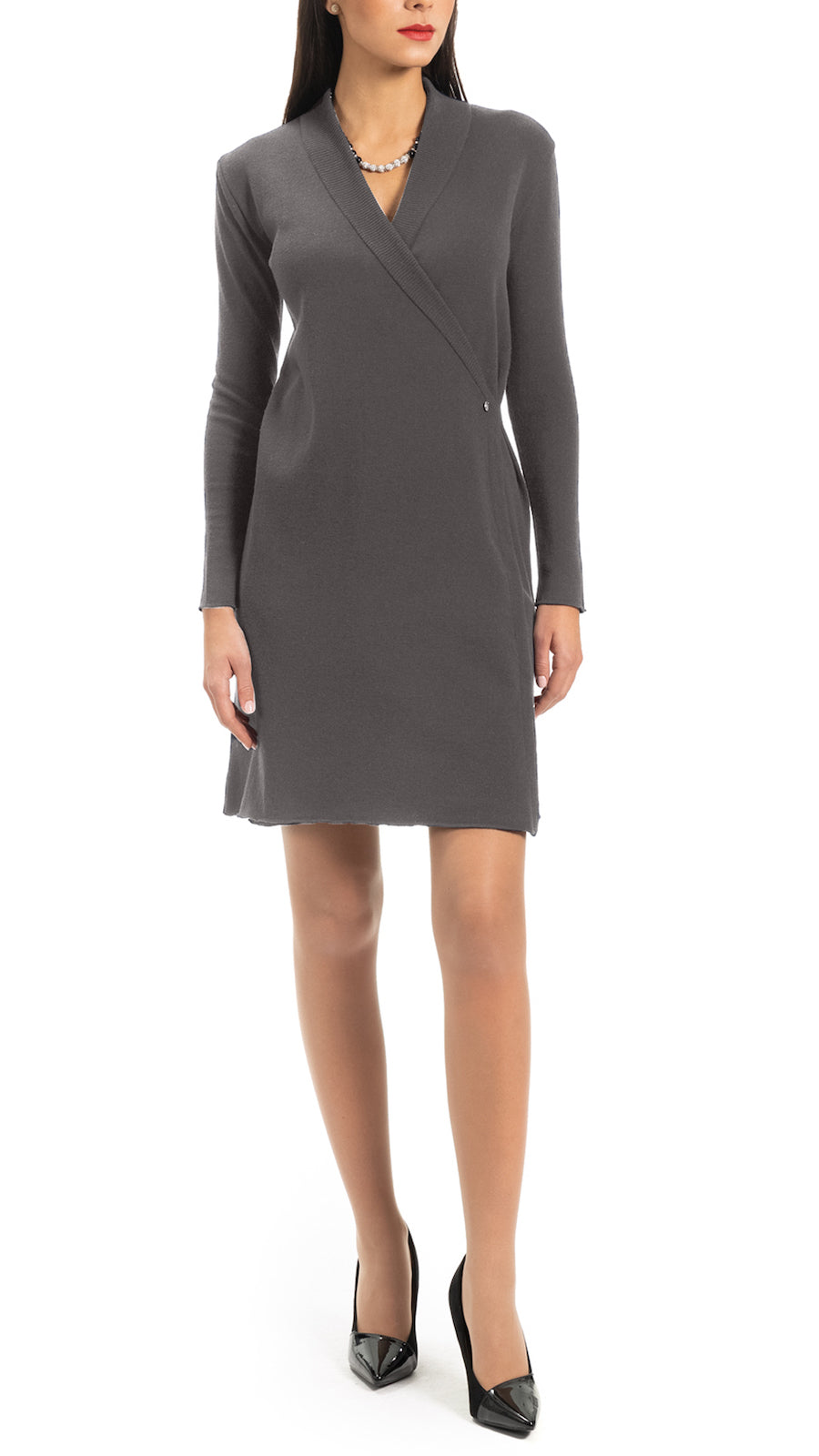CONTEMPO Vikie knitted wrap dress, Taupe
