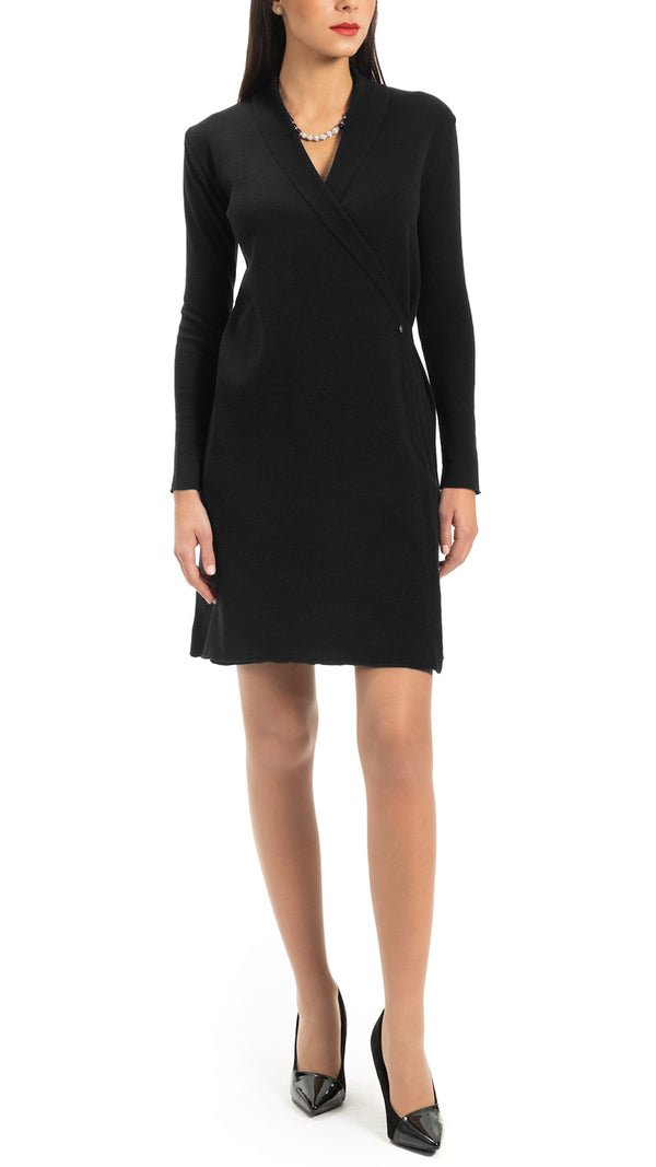 CONTEMPO Vikie knitted wrap dress, Black