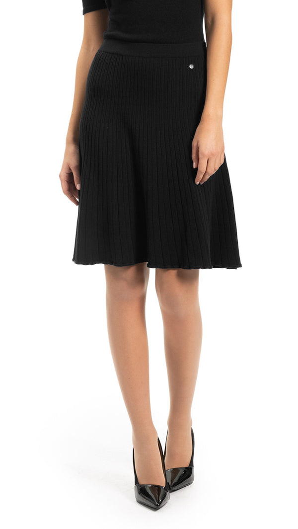 CONTEMPO Livie Flare-wave-knit Skirt, Black
