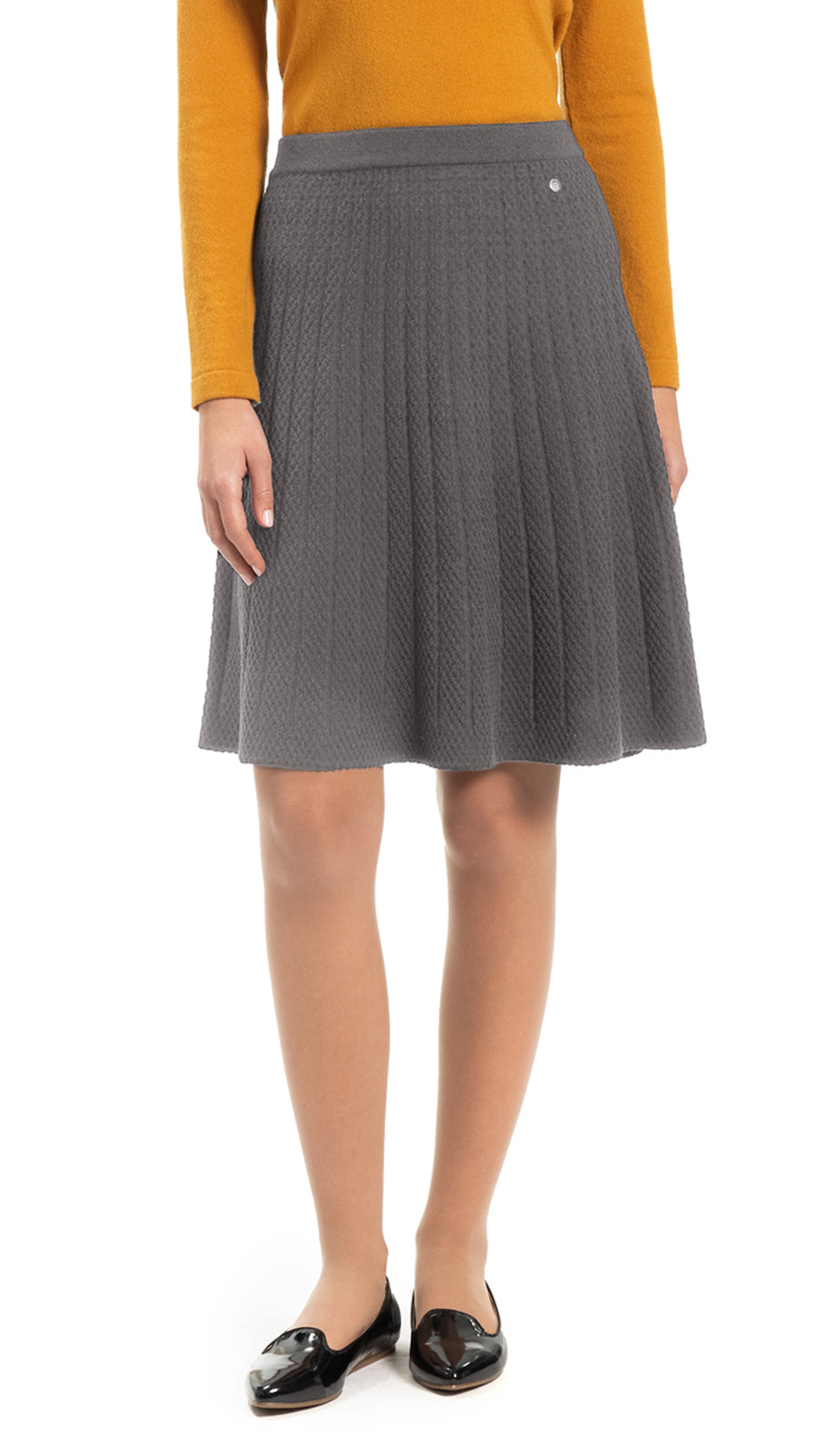 CONTEMPO Adeline Pattern-Knit Flare Skirt, Taupe
