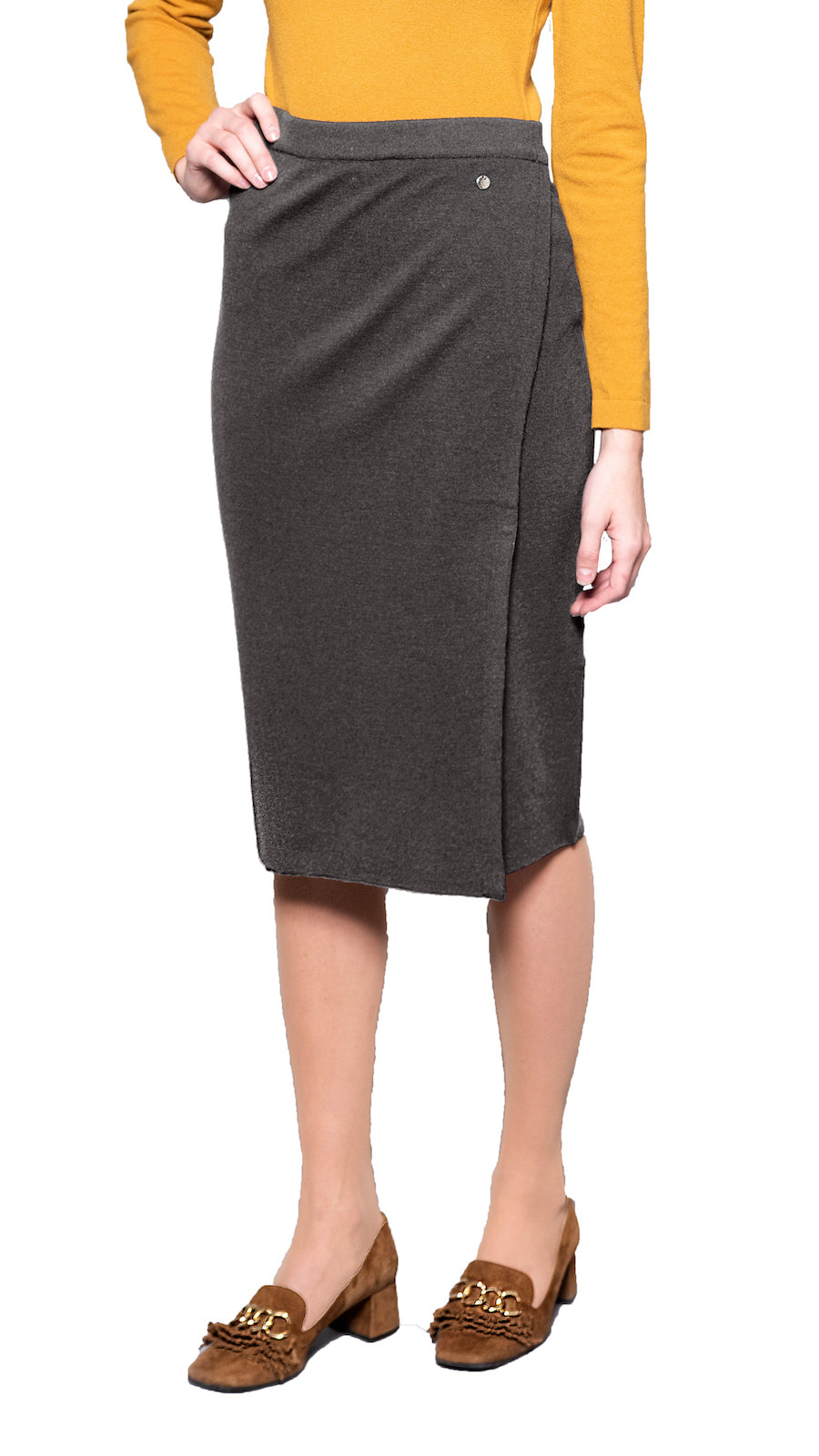 CONTEMPO Sylvie Mock-Wrap Knitted Skirt, Taupe