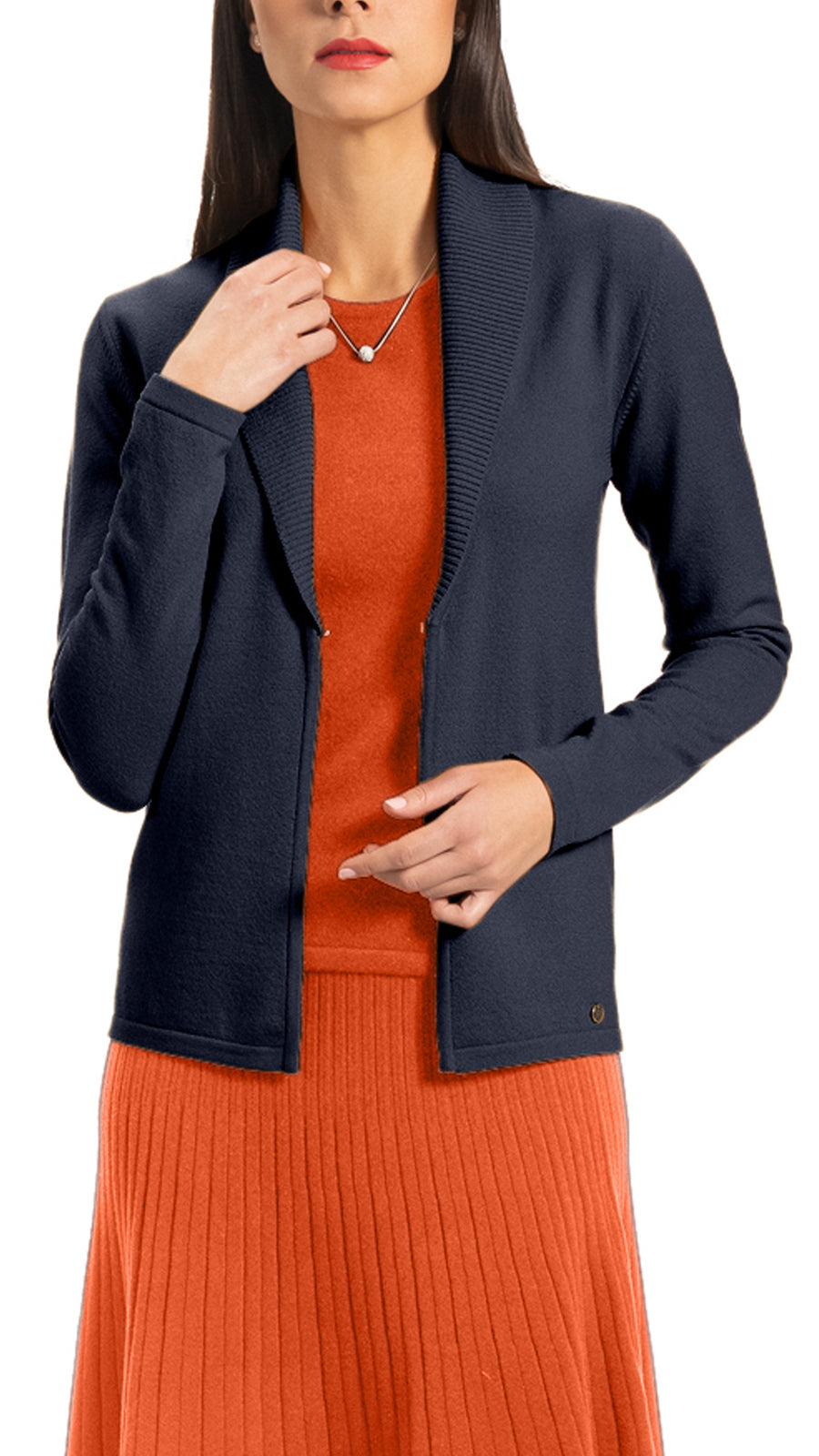CONTEMPO Elsie Flat-Knit Cardigan, Navy