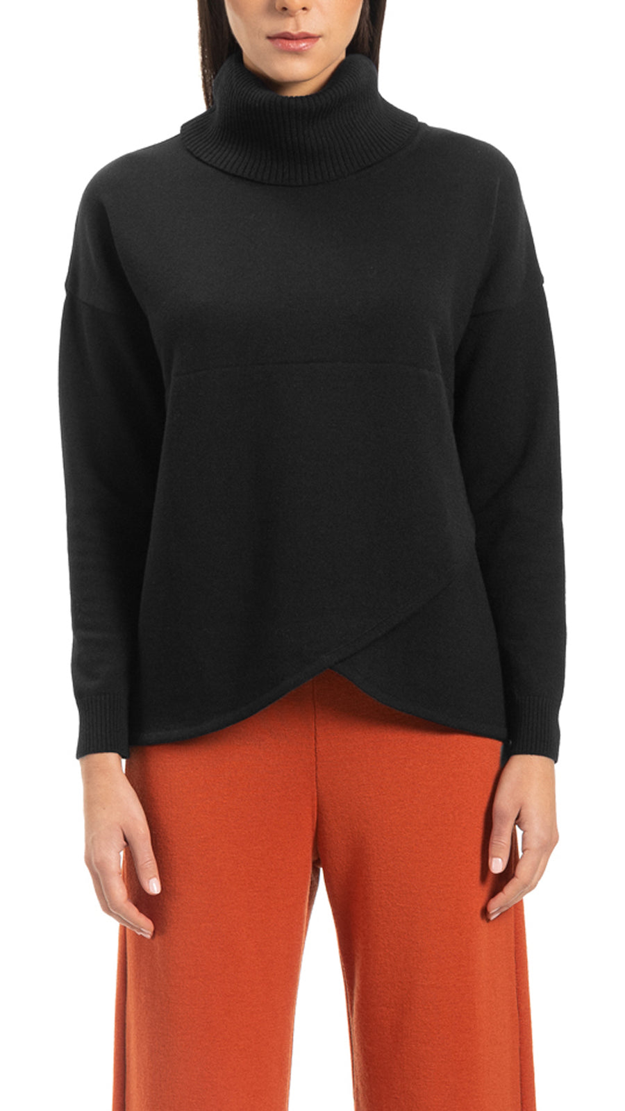 CONTEMPO Reba mock-wrap over-sized turtle neck sweater, Black