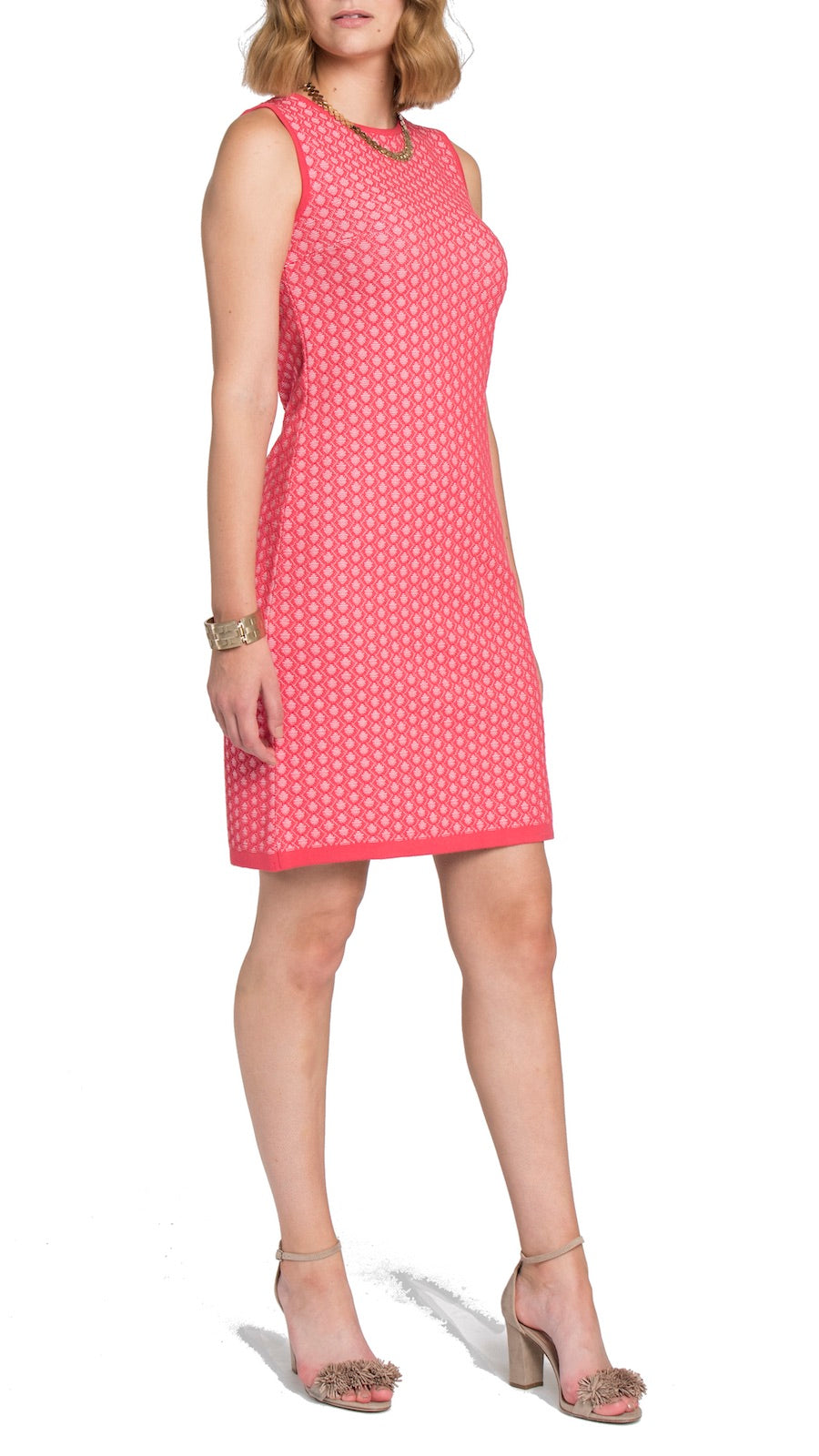 CONTEMPO Gianna Jacquard-Knit Dress, Coral Pink/White