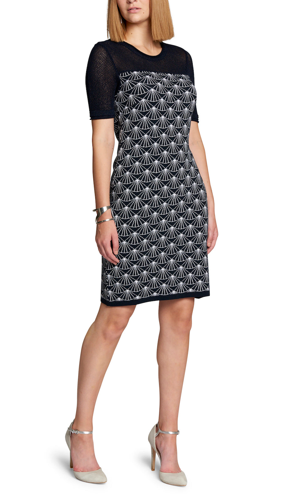 CONTEMPO Jasmine Jacquard Knit Dress, Navy/White