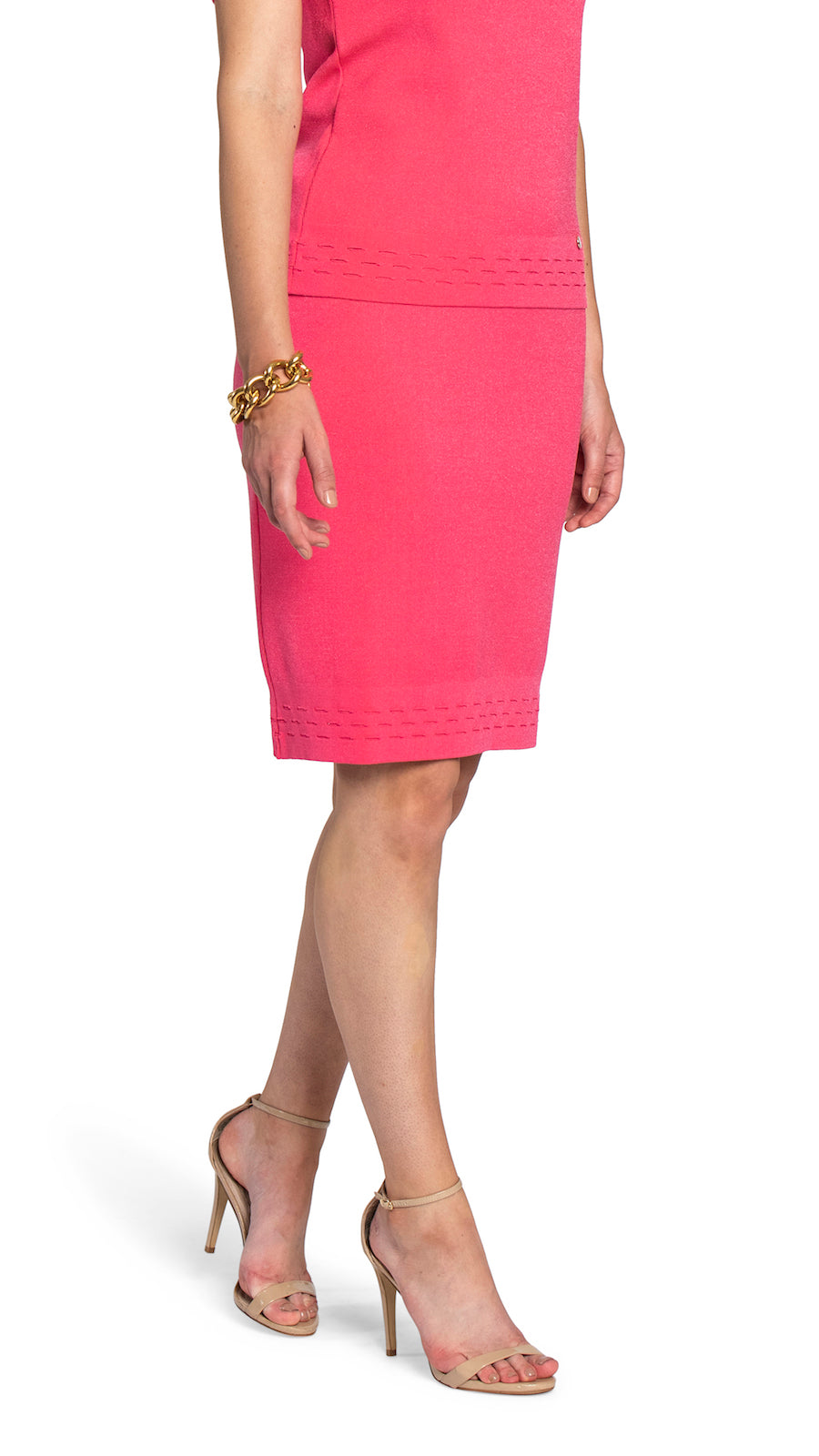 Addison Knitted Skirt, Coral Pink