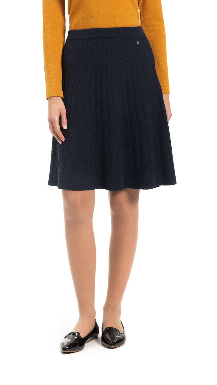 Addie knitted flare skirt, Navy