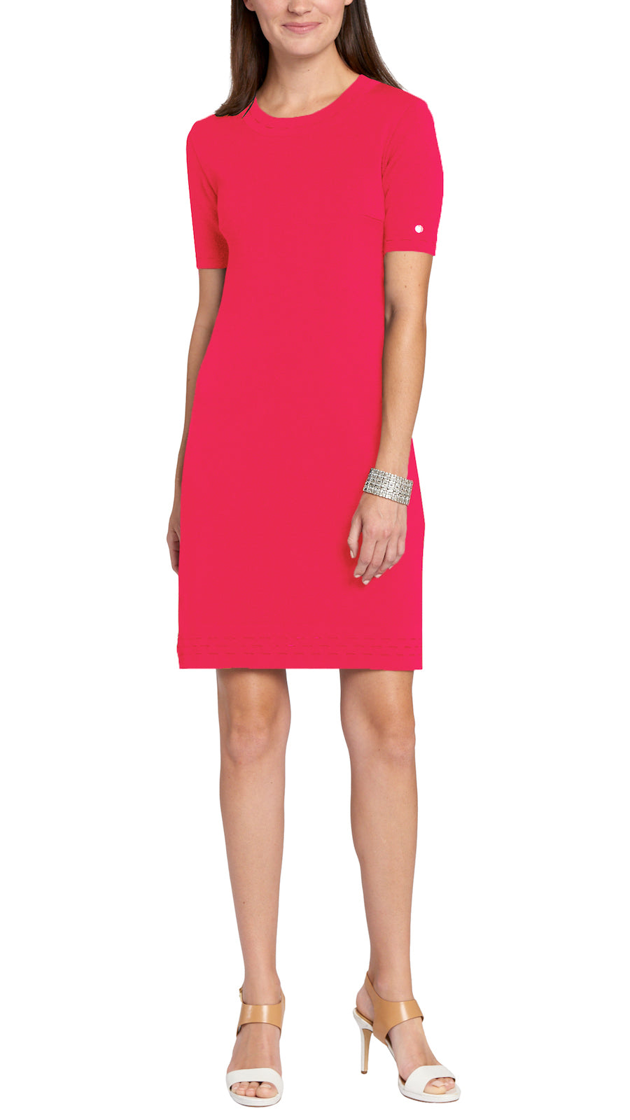 Adelle Milano-knit Dress, Coral Pink