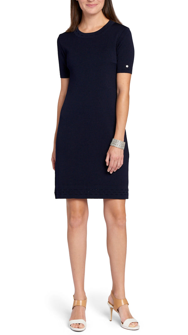 Adelle Milano-knit Dress, Navy