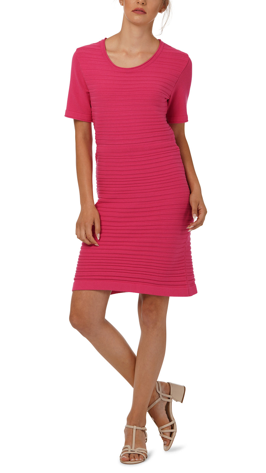 Anita Horizontal Rib Knit Dress, Pink