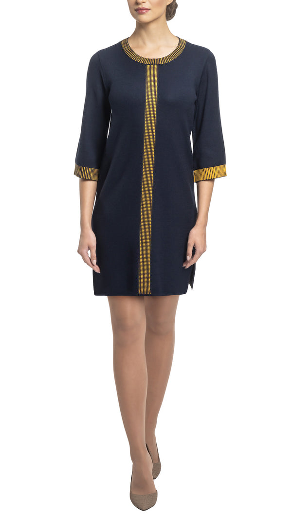 CONTEMPO Anne Milano knit Dress, Navy/Gold