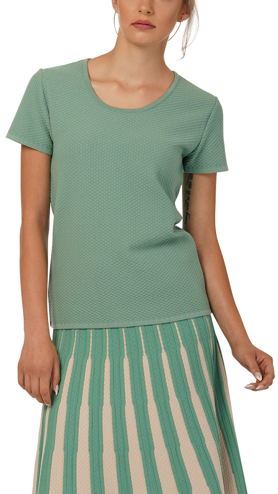 Annie knitted short sleeved top, Green