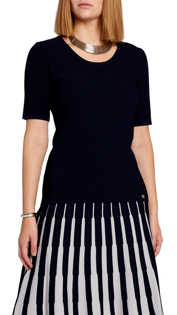 Annie knitted short sleeved top, Navy