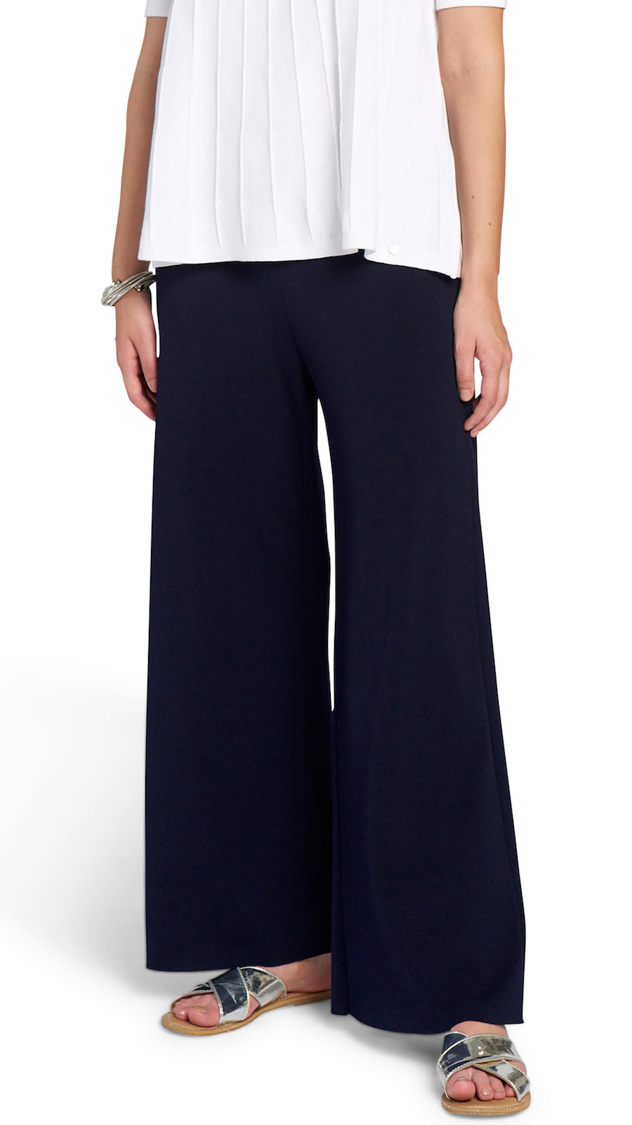 Briana Wide Leg Milano-Knit Pants, Navy