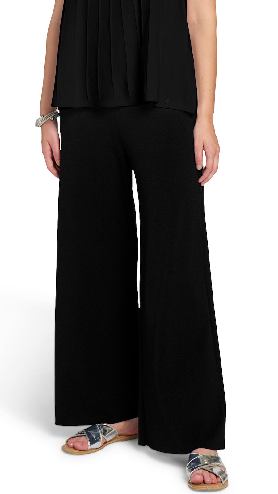 Briana Wide Leg Milano-Knit Pants, Black