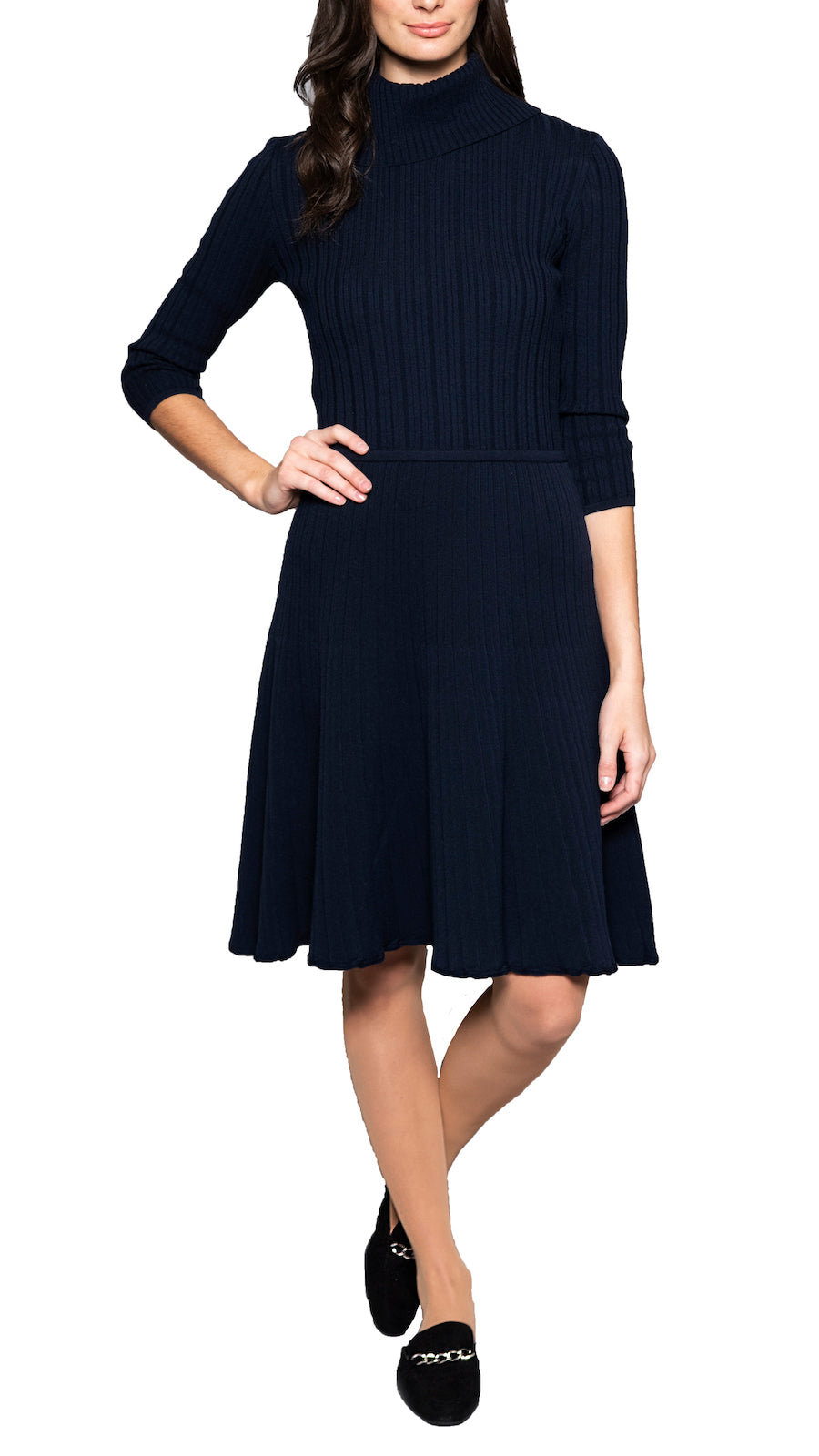CONTEMPO Carlina fit-and-flare knitted dress, Navy