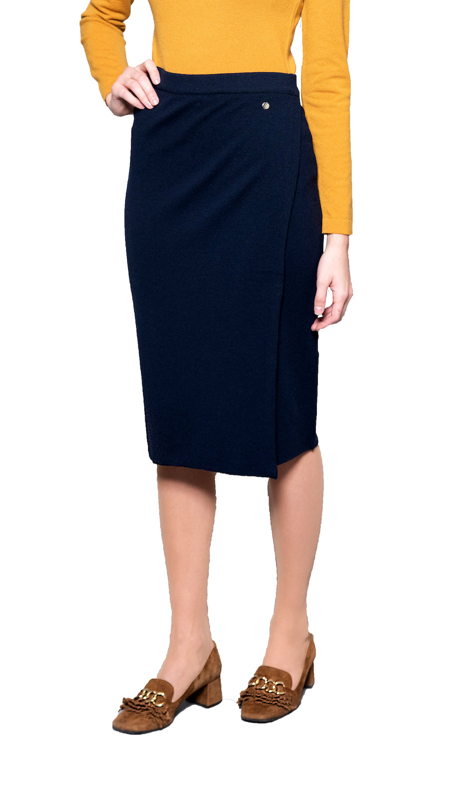 CONTEMPO Sylvie Mock-Wrap Knitted Skirt, Navy