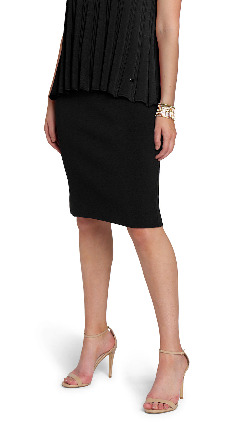Cora Milano-Knit Pencil Skirt, Black