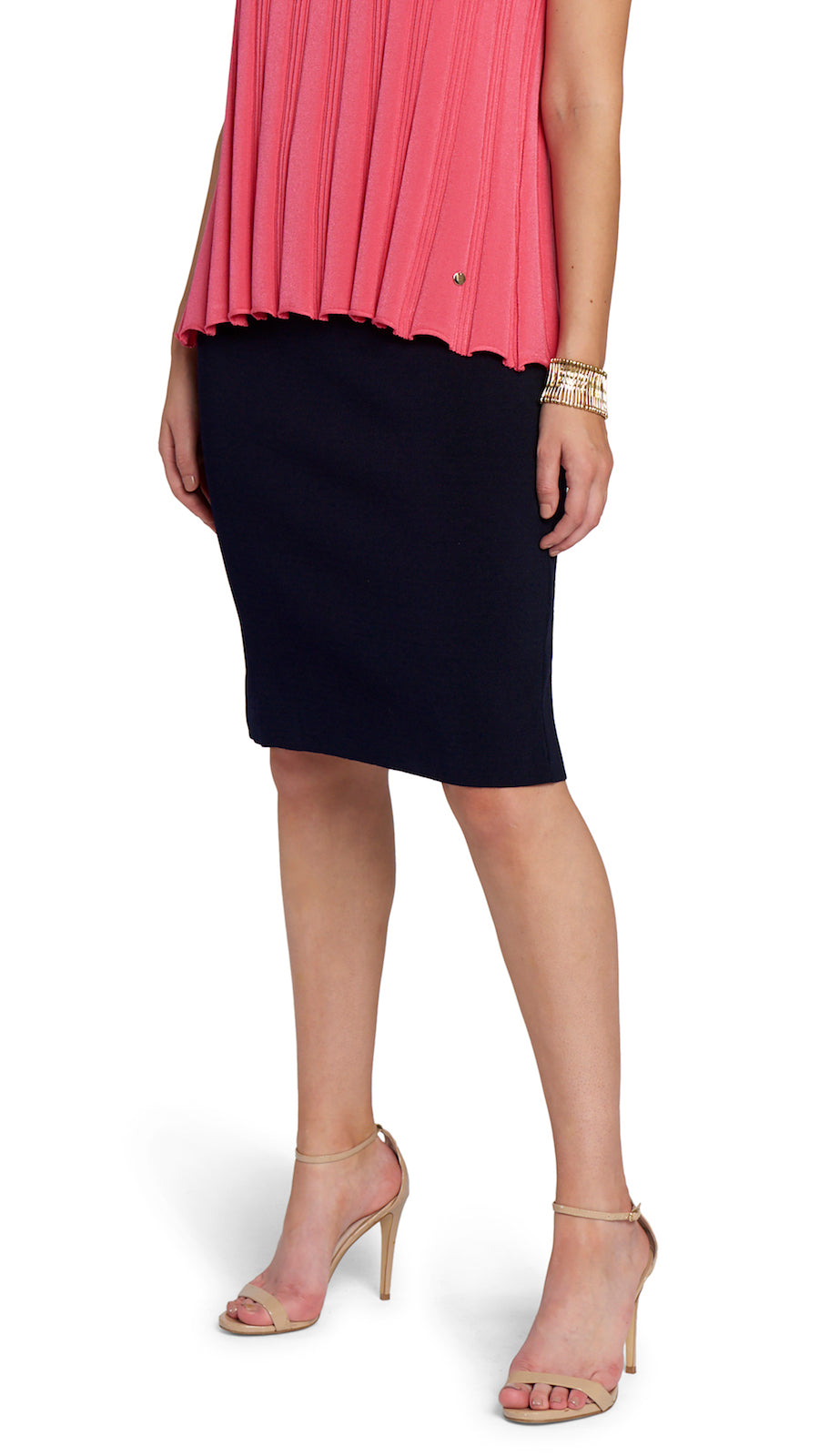 Cora Milano-Knit Pencil Skirt, Navy