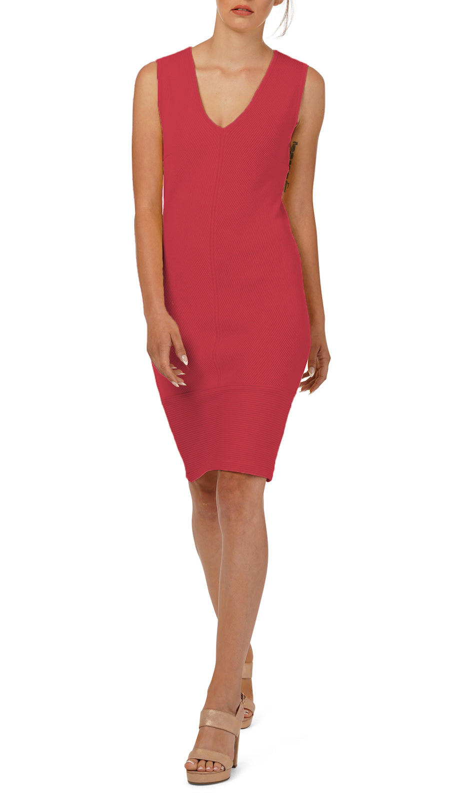 Loraine Rib-knit Dress, Pink
