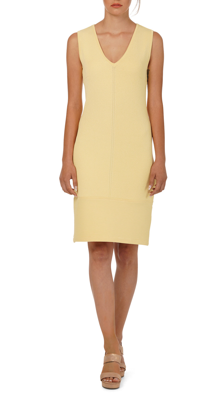 Loraine Rib-Knit Dress, Yellow