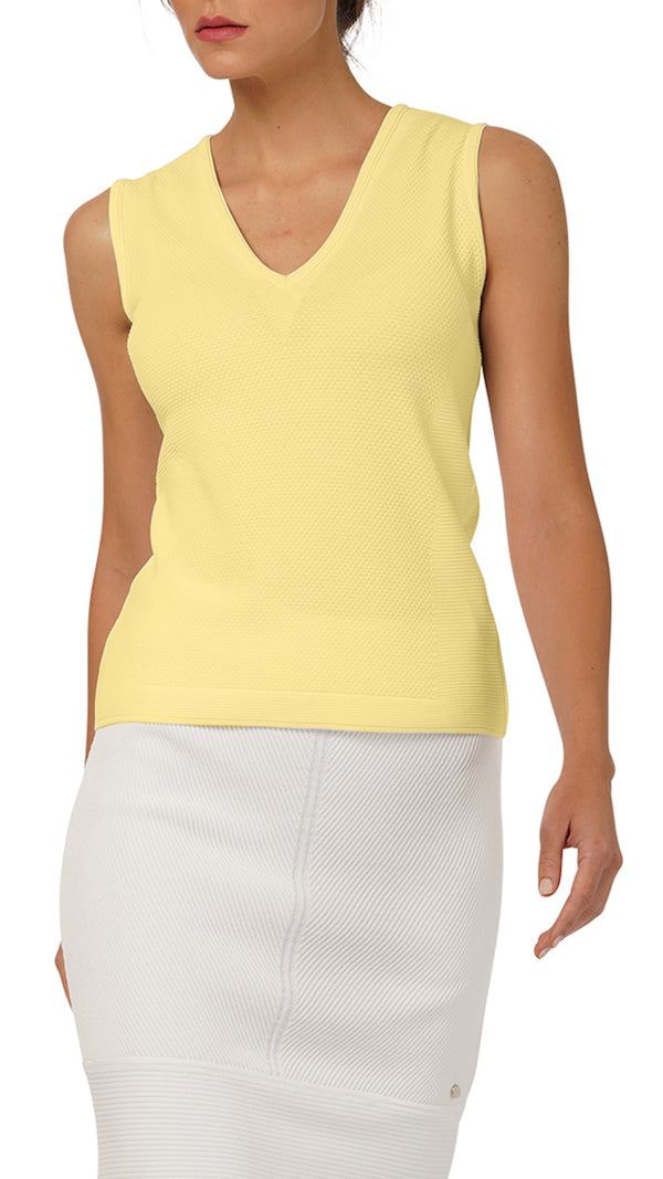 Ellie Pique-Knit Top, Yellow