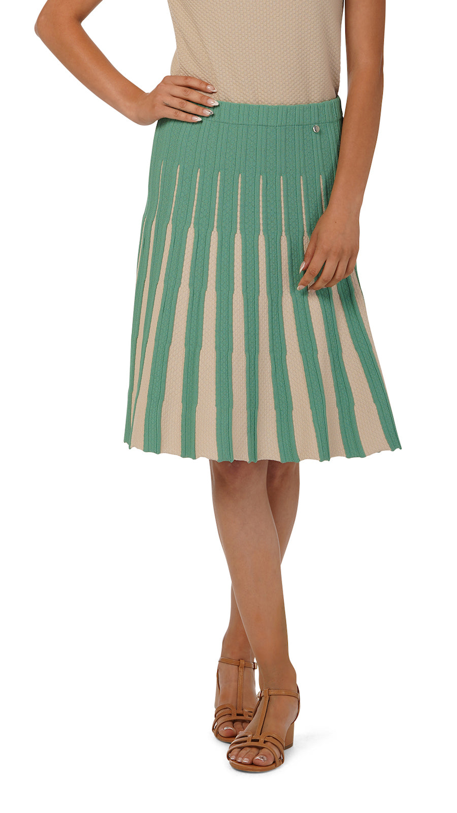 Lucy flare skirt, Beige/Green