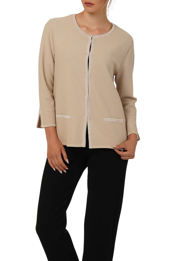 Diana Knitted Jacket: Black, Beige