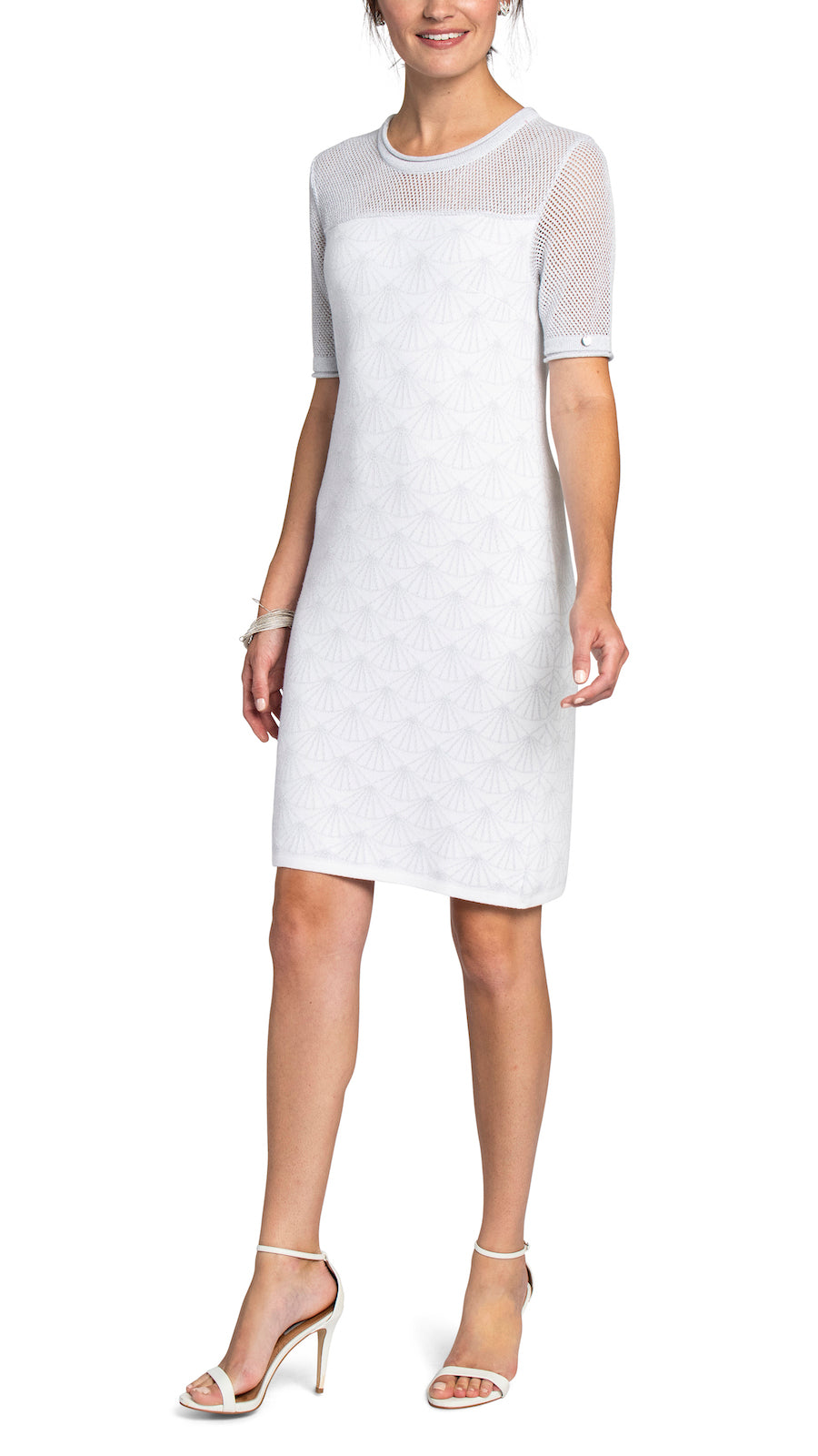 CONTEMPO Jasmine Jacquard Knitted Dress, White/Silver