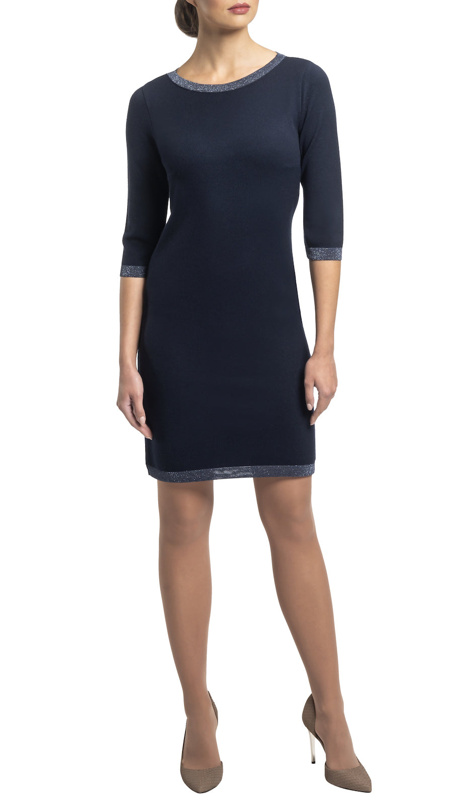 CONTEMPO Gabbie piquet knit dress, Navy/Metallic Blue