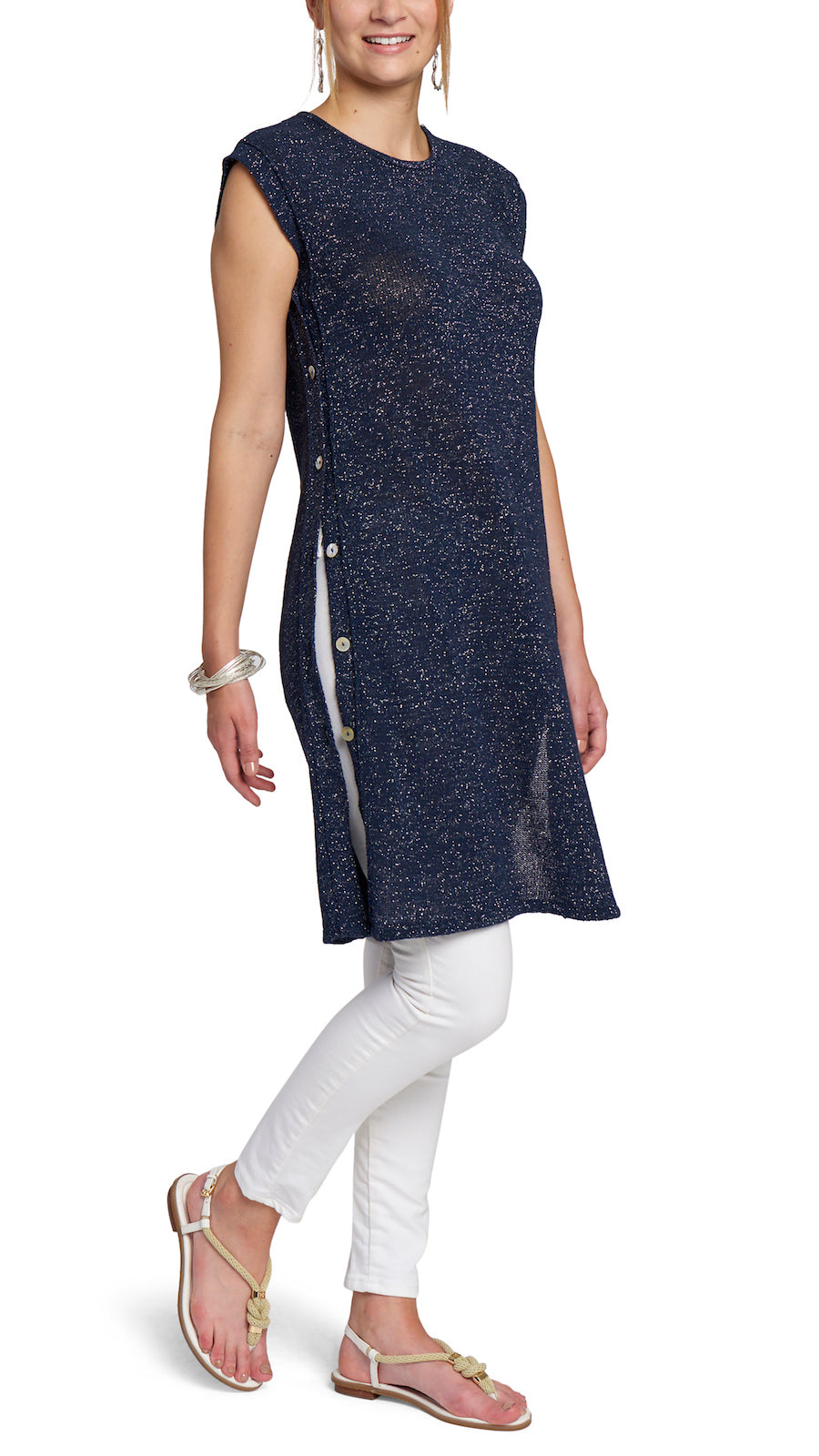 CONTEMPO Hailey Shimmery Knitted Tunic-Dress, Navy