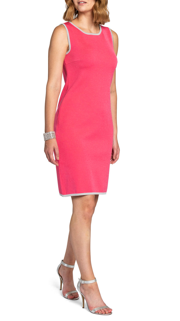 Heather knitted shift dress, Pink/Silver