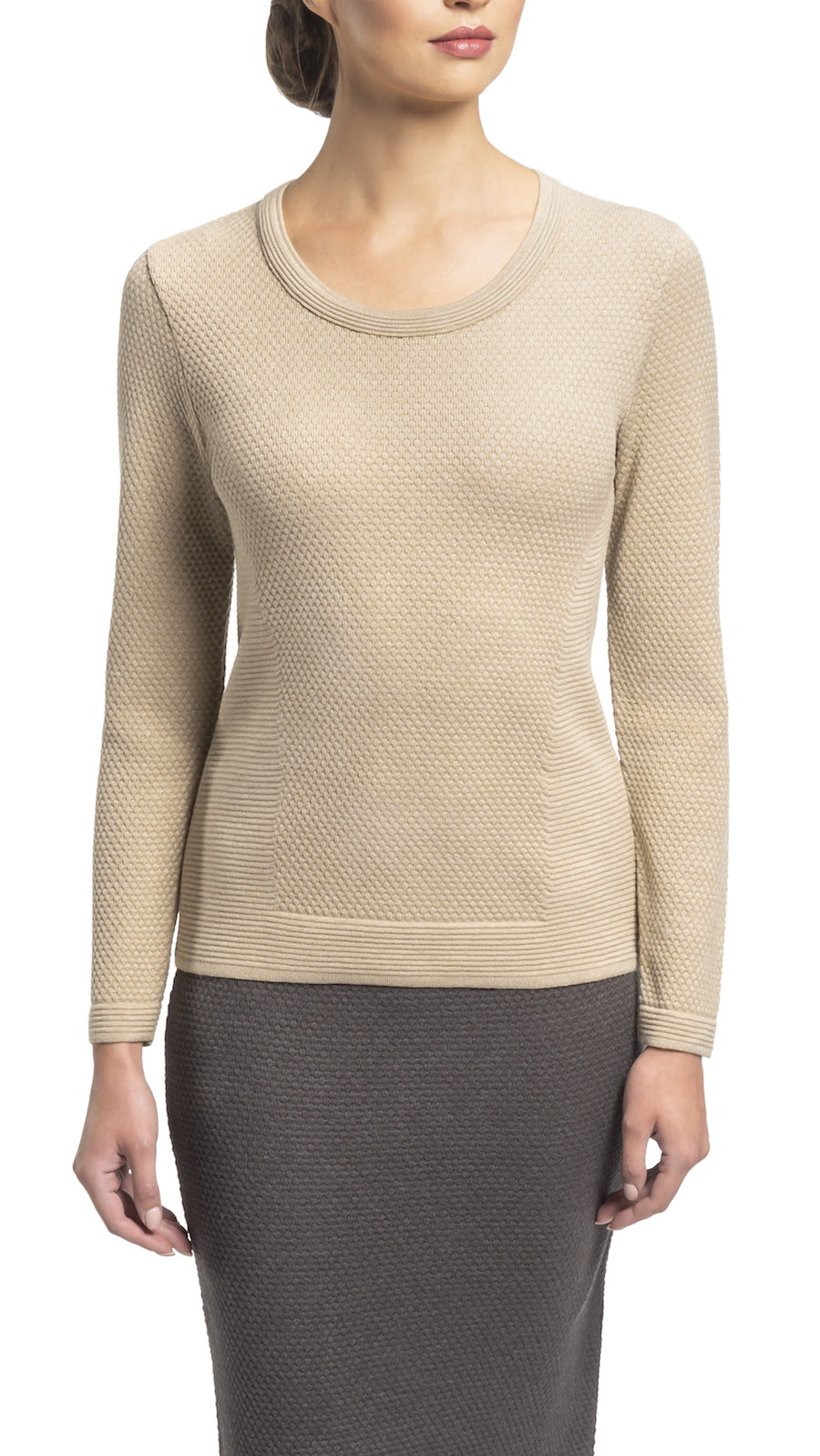 CONTEMPO Helene knitted top, Beige