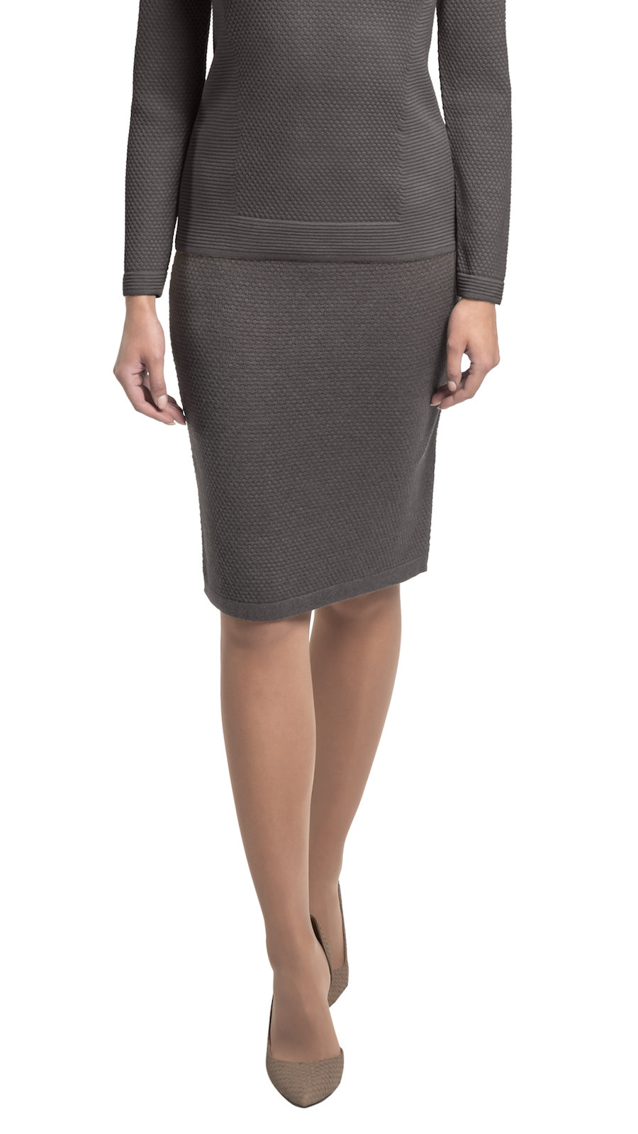 CONTEMPO Jilliane knitted skirt, Taupe Brown