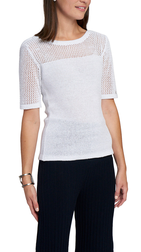 CONTEMPO short sleeved knitted top, White
