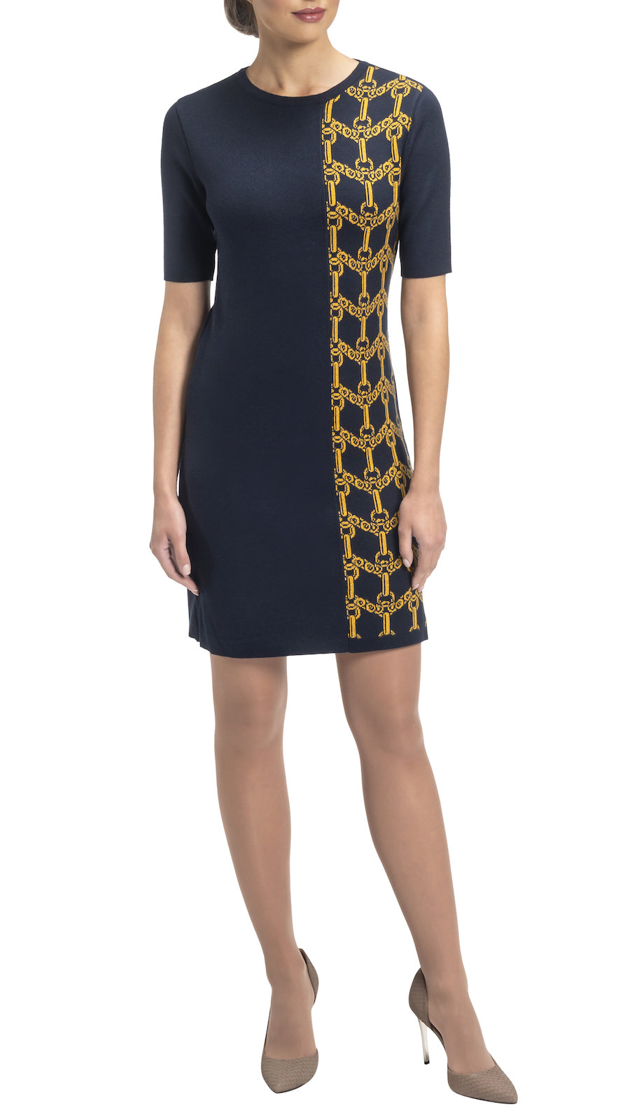 CONTEMPO Janie knitted dress, Navy-Gold