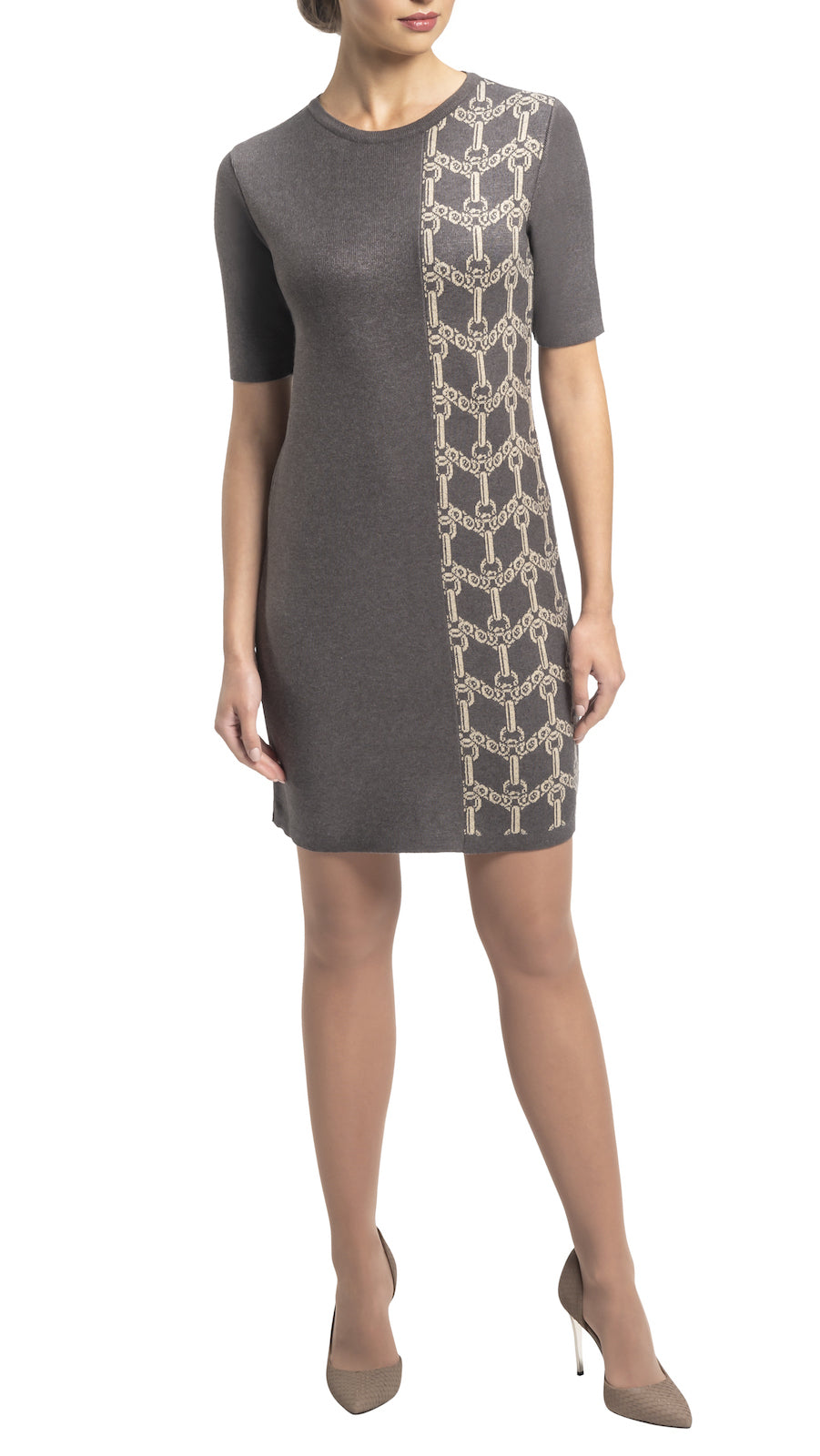 CONTEMPO Janie knitted dress, Taupe-Beige