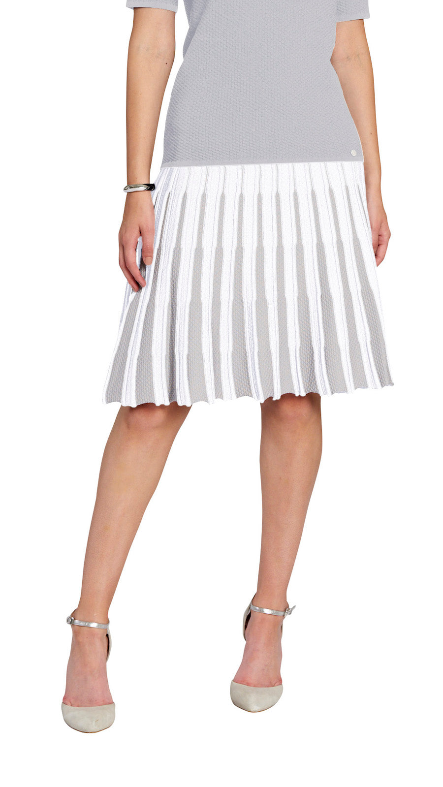 Lucy flare skirt, White/Silver