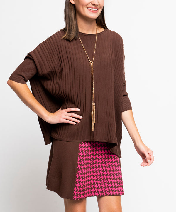 Erin Off-Shoulder Long Sleeved Vertical Rib-Knit Sweater; Brown