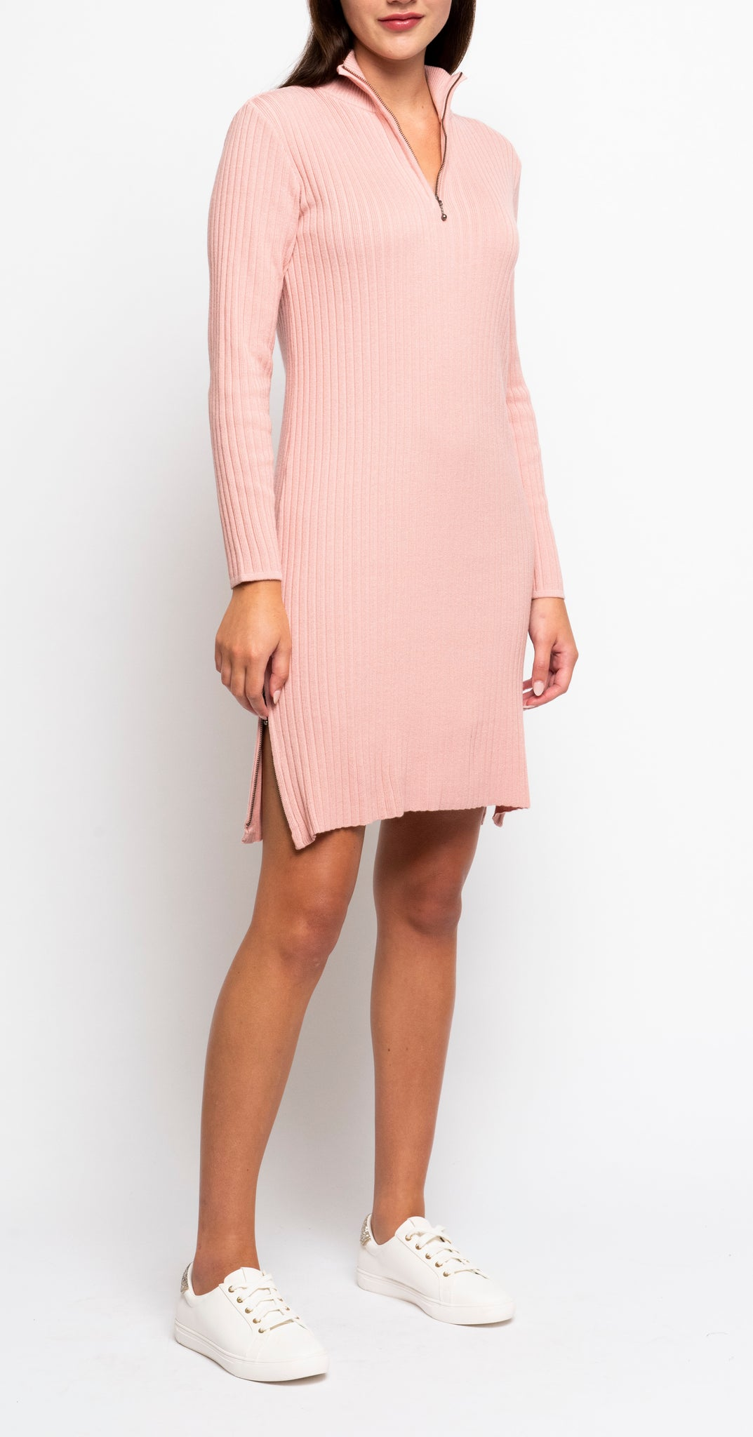 Stefanie Zip-Up Mock Neck, Vertical Rib Knit Tunic; Blush