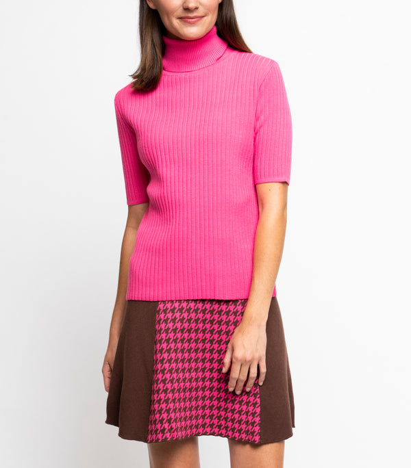 Tory Vertical Rib Knit Turtle Neck Top; Pink