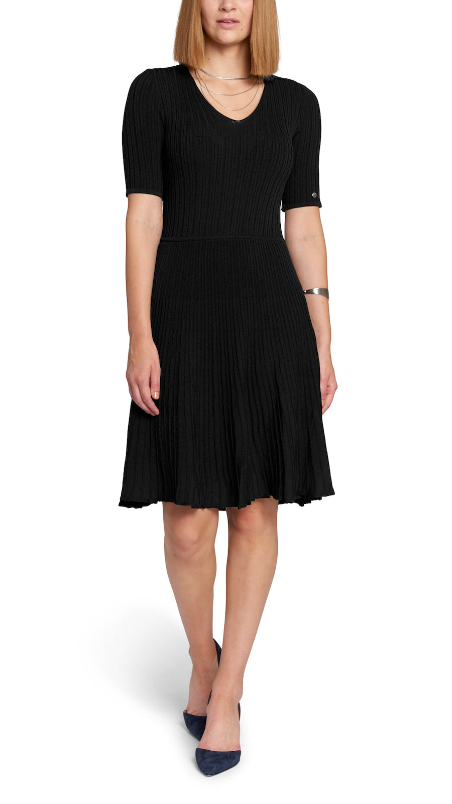 Maya Fit-and-Flare Knitted Dress, Black