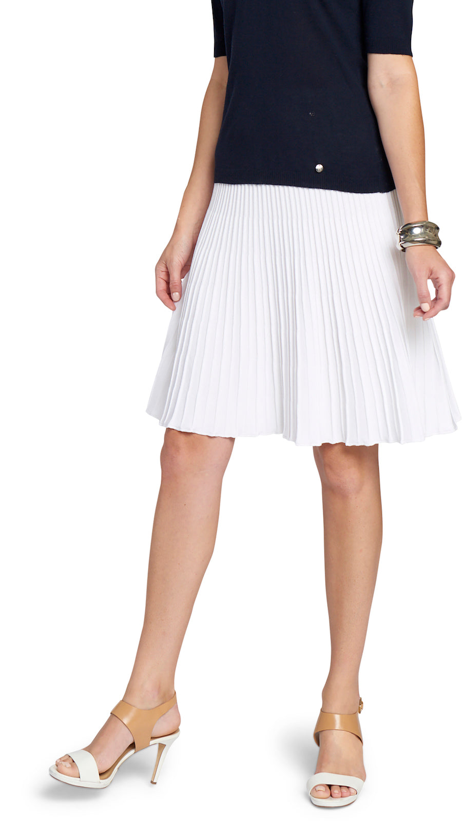 Olive Plisse-Knit Skirt, White