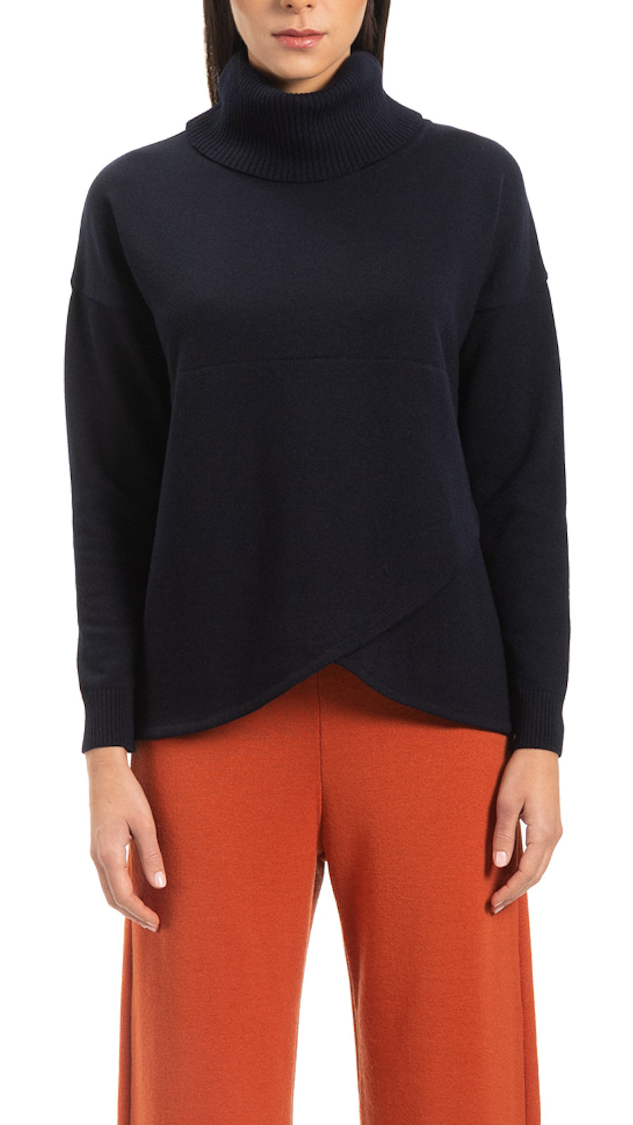 CONTEMPO Reba mock-wrap over-sized turtle neck sweater, Navy