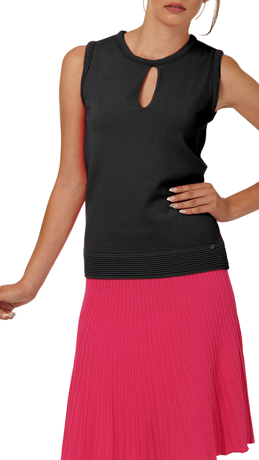Stella Sleeveless Knitted Top, Black