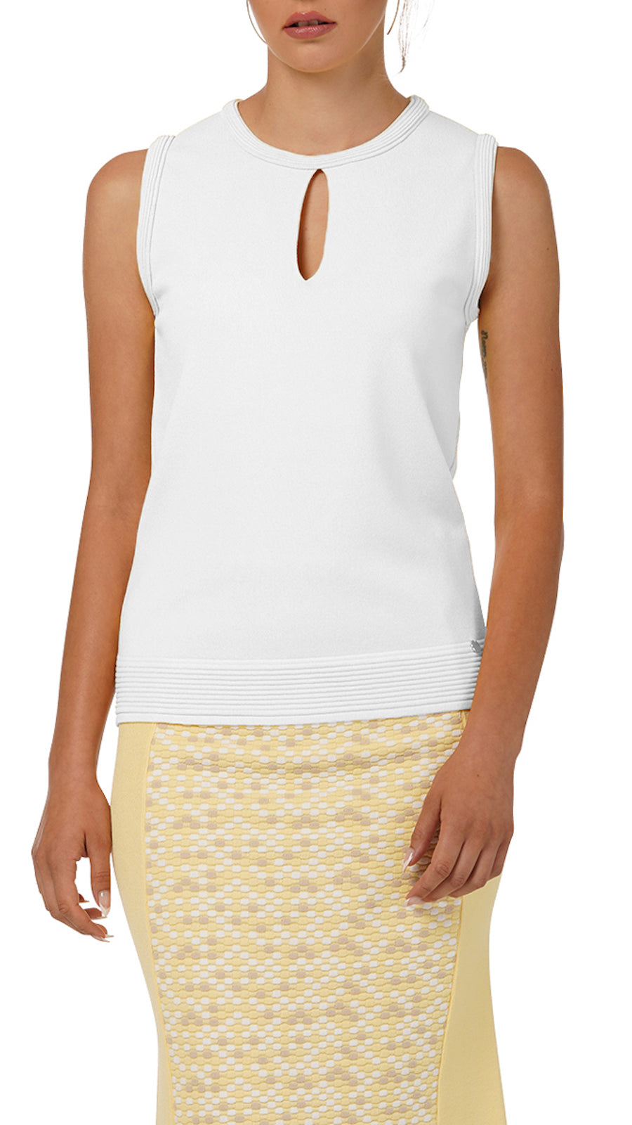 Stella Sleeveless Knitted Top, White